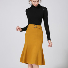 New 2017 Spring European Fashion Black Trumpet Skirt Women Elegant Slim Sexy Pencil Skirts Female Yellow Plus Size 3 Colors