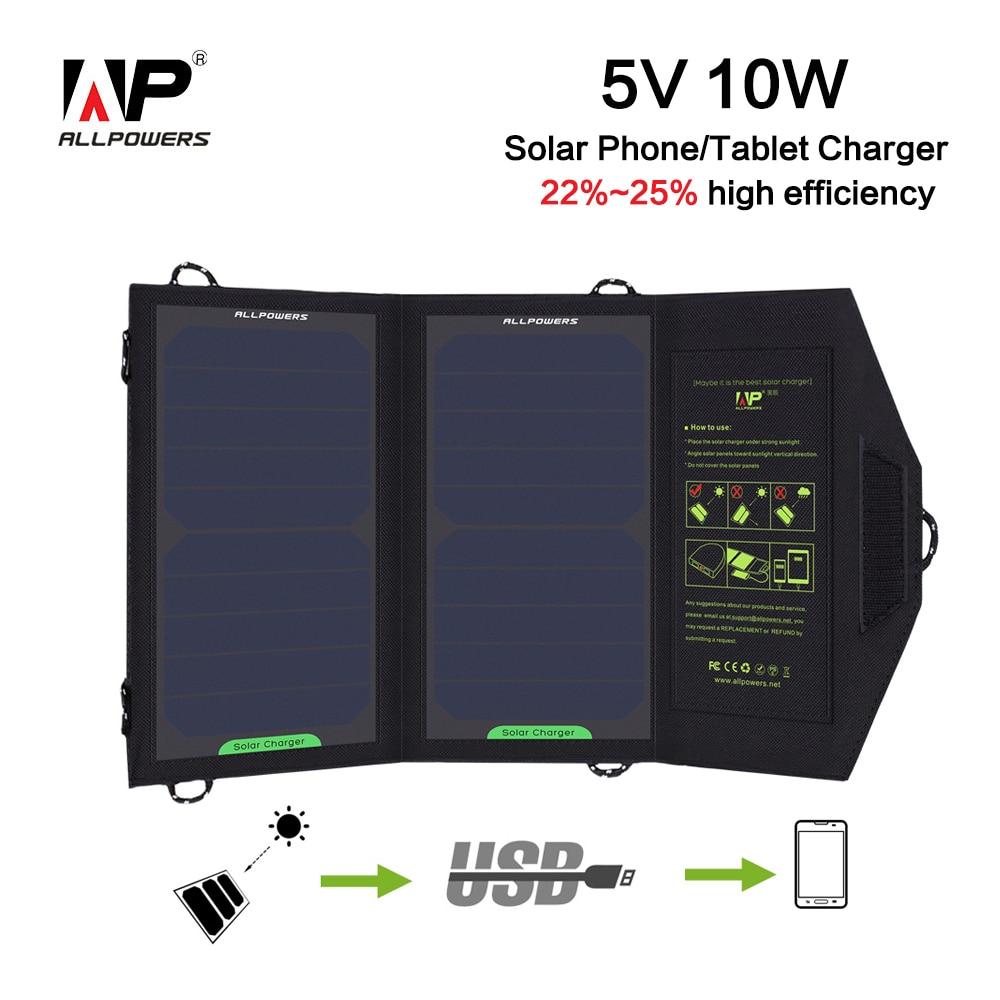 ALLPOWERS Pieghevole Camping Pannello Solare 5 V 10 W Caricatore Zaino Esterno Accumulatori e caricabatterie di riserva per il Telefono Mobile Batteria Solare del USB di Ricarica