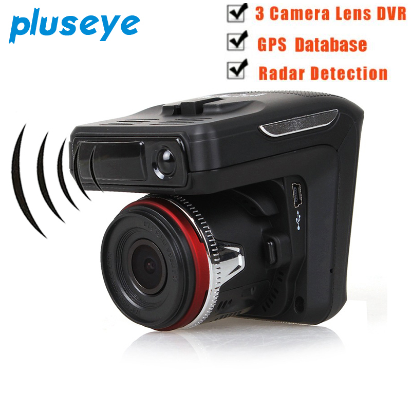 Pluseye 3 in 1 Car DVR Camera Radar Detector GPS Tracker Recorder 720P 2.4 TFT laser GPS ...