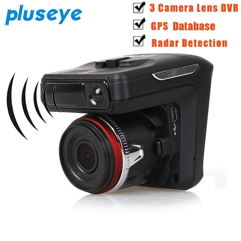 Pluseye 3 in 1 Car DVR Camera Radar Detector GPS Tracker Recorder 720P 2.4 TFT laser GPS ...