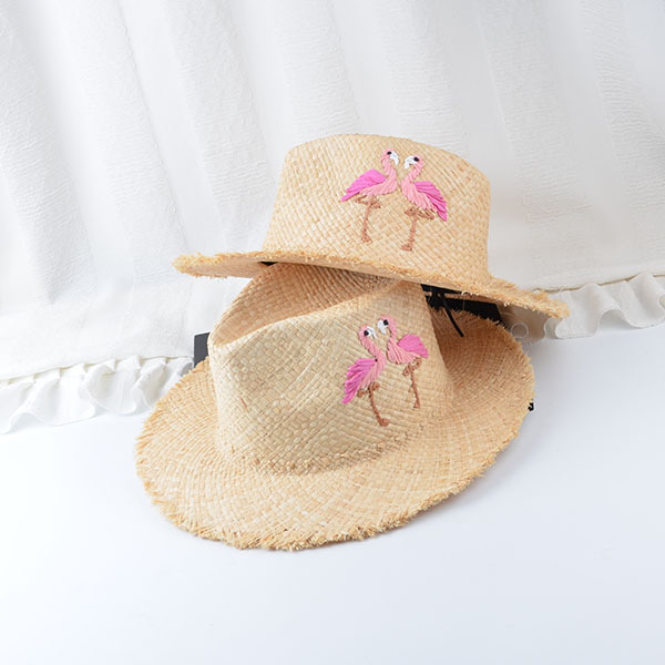 Womens Summer Straw Hats Flamingo Embroidery Natural Raffia Floppy Fedora  Panama Beach Jazz Straw Hat For Women Chapeau Feminino 43b508f208