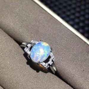 Image 3 - 천연 오팔 여성 반지 변경 화재 색상 신비한 925 실버 조정 가능한 크기