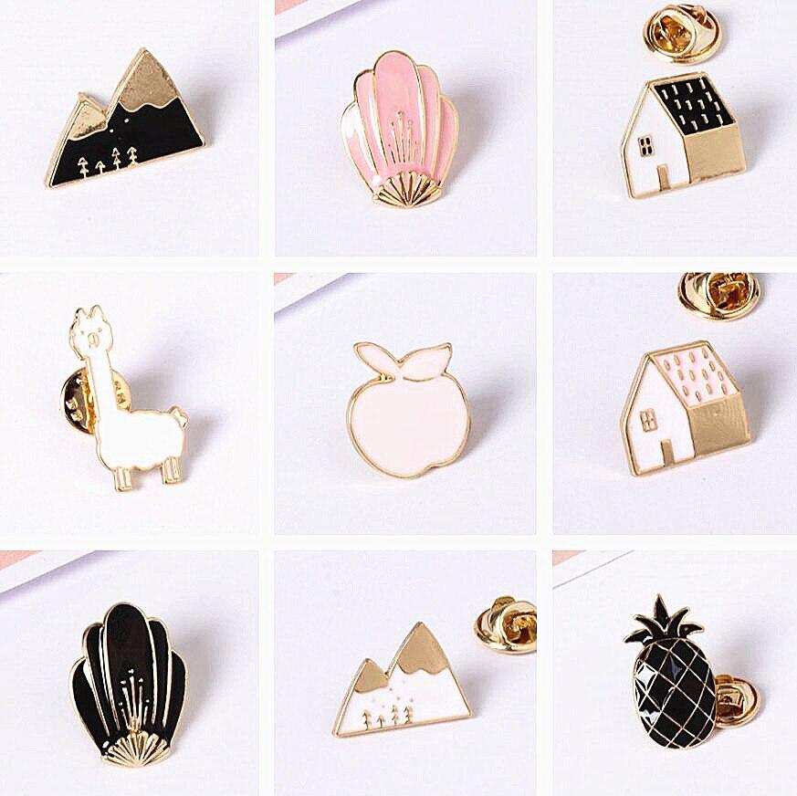 Timlee X177 Cartoon Cute Animal House Montain Fox Design Metal Brooches Pins Buttton Pin Wholesale ...