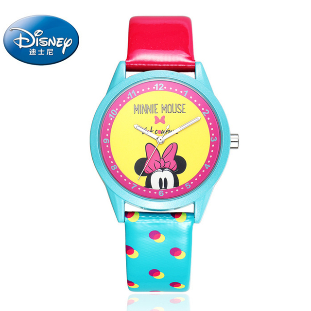 100% Original Disney children Mickey Mouse Cartoon Watch Best Fashion Casual Simple Style Quartz Round Leather Watch Gift box