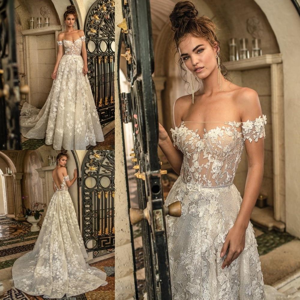 2019 Sexy Wedding Dress Backless Off The Shoulder Lace Applique Beach Bridal Gowns Sweep Train Vestido De Novia
