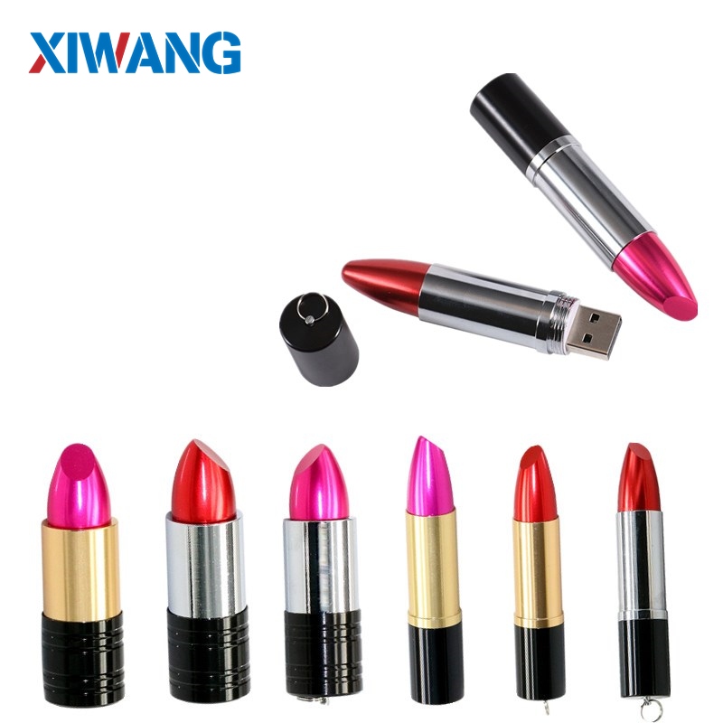 Popular Gift For Girls USB Flash Drive Pink Red Metal Lipstick 4GB 64GB 8GB PenDrive 16GB 32GB 64GB Pen Drive USB Memory Sticks
