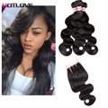 Queen Hair Products with Closure Bundle Brazilian Body Wave Human Hair With Closure 8A Brazilian Virgin Hair With Lace Closure