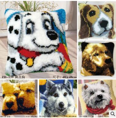 Latch Hook Floor Rug Kits Dog Cat Bears Broderie Tapis Hooks Cushion Hooking Fabric Ev Koltuk Kilifi In From Home