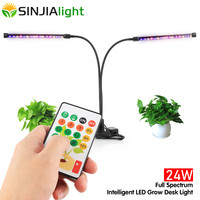 24W LED Grow Light Dual Head Plant Lamp Dimmable Growing Tube Full Spectrum Fitolamp for Flowers Seeds Remote Controller Timing