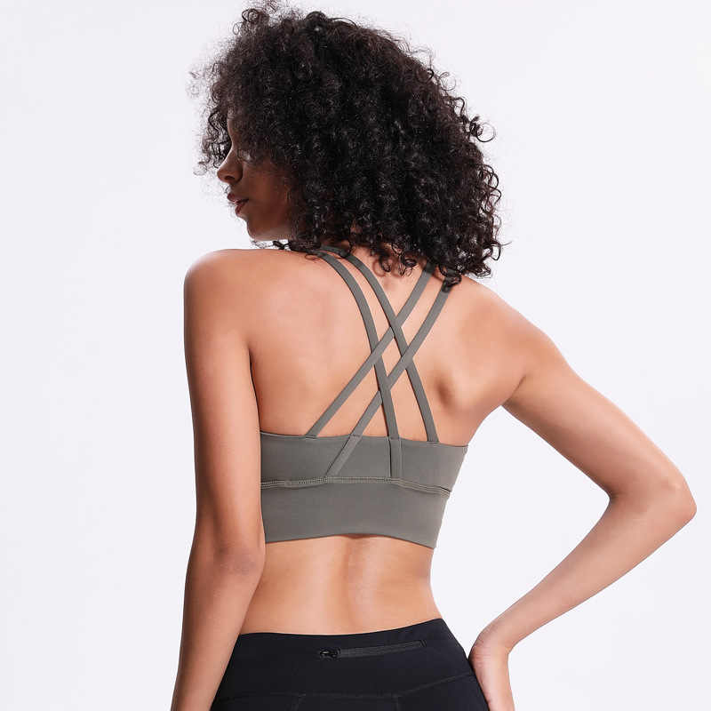 NWT 2019 Sports Bra Lady New Style Breathable Quick Dry Sports bra Bodybuilding Bras 4 Way Stretch Fabric Running Bras