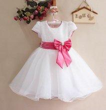 קמעונאות חדש תינוקת חתונה ושמלות מפלגה, חם לבן/אדום עם קשת גדולה ילדה של מדהים נסיכת שמלה, משלוח חינם