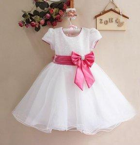 Image 1 - קמעונאות חדש תינוקת חתונה ושמלות מפלגה, חם לבן/אדום עם קשת גדולה ילדה של מדהים נסיכת שמלה, משלוח חינם