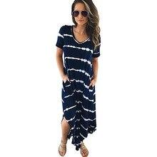 Summer Large Striped Casual Dress Women Short Sleeves V Neck Maxi Dress Office Pockets Long Plus Size Cotton Loose Fringe Dress