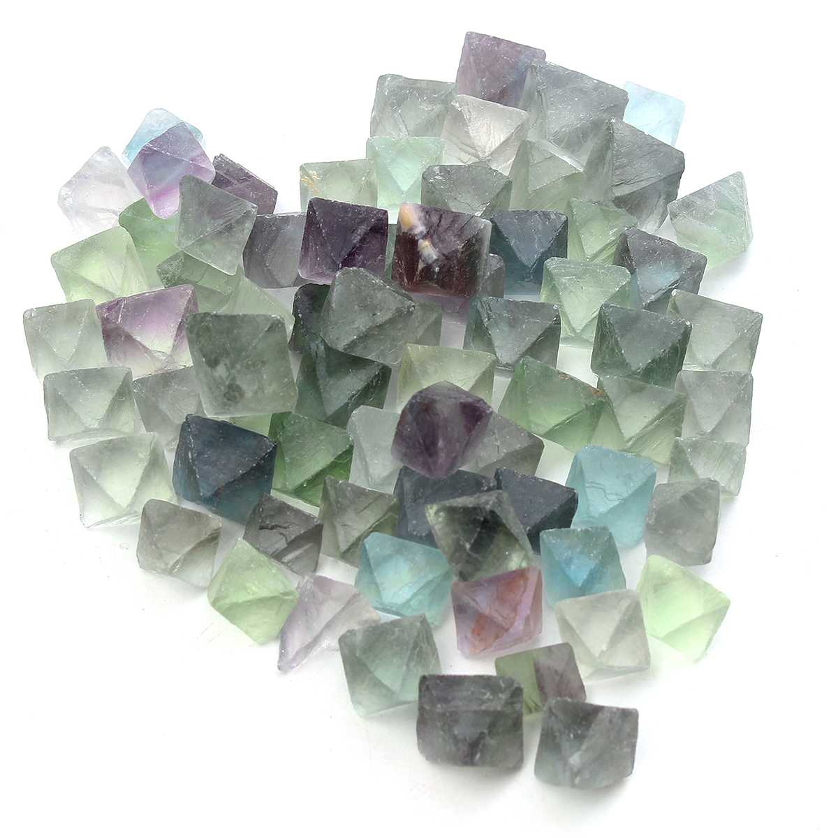 About 50-60Pcs 230g Blue And Green Fluorite Octahedron Crystals Stones Healing Stones Fluorite Raw Gemstone Ornament Stone