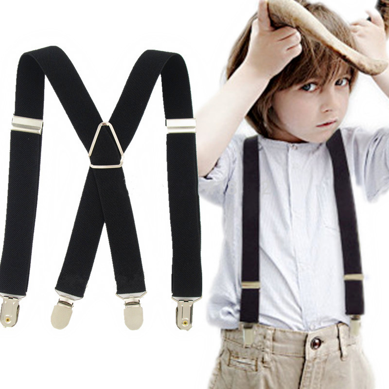 2.5*65CM S Size Adjustable Strap X Back Baby Boy Suspenders 4 Strong Clips On Kids Braces  Suspender Hold Trousers Boys Girls