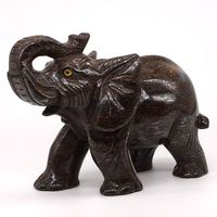 5 Natural Gemstone Bronze Hand Carved Elephant Statue Crafts Home Office Decor