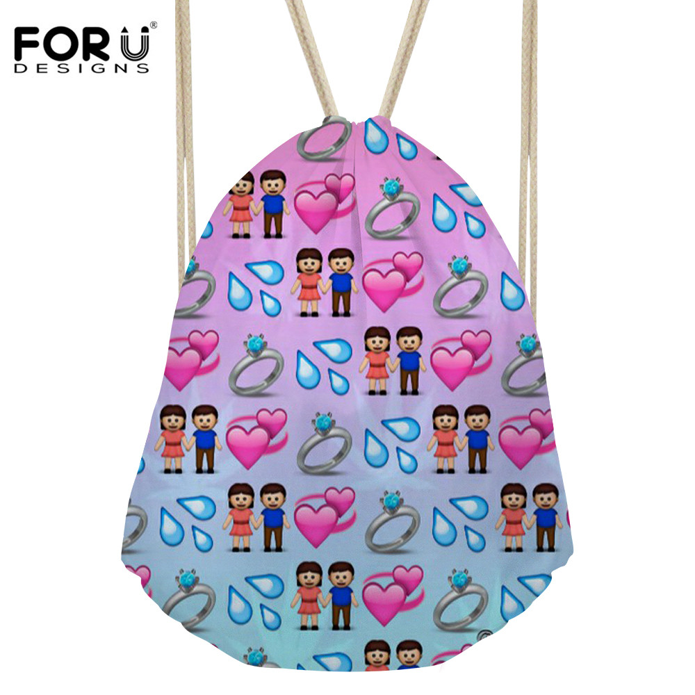 FORUDESIGNS Womens Cute Backpack Beach Bag for Lady Small Pouch Drawstring Bag Girl Pattern Travel Gift Students Mochilas