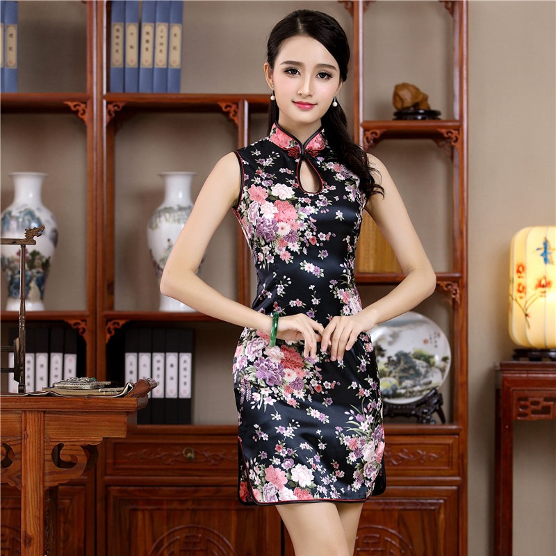 Sexy Mini Chinese Women Sleeveless Qipao Mandarin Collar Evening Party Club Dress Print Flower Cheongsam Vestidos S M L XL XXL