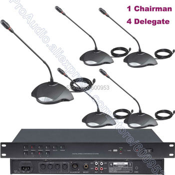 MICWL 350U-A5 Classic Meeting Room Microphone Conference System 1 Chairman 4 Delegate Gooseneck Mic 1 Host support 60 Table Mic