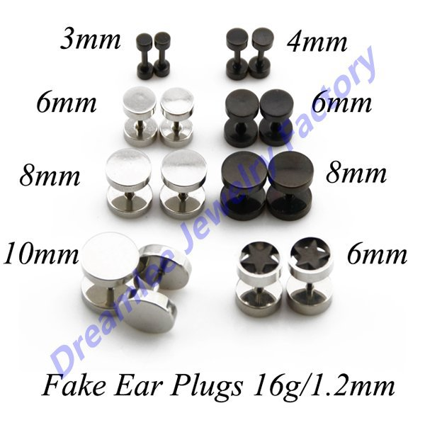 Lot Of 48pcs Stainless Steel Orted 3 Style Earring Fake Plugs Cheater Tunnel Ear Piercing Expander