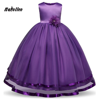 Nacolleo Flower Girls Dress Princess Pageant Formal Dress Party Kids Dress Clothes Girls Long Dress Bridesmaid