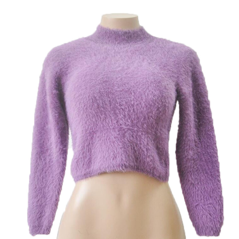 Soft Knitted Solid Pullovers Women Turtleneck Long Sleeved Cropped ...