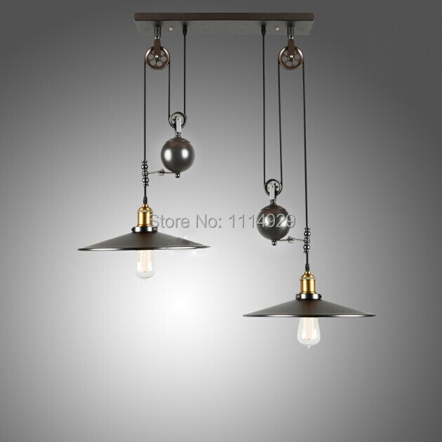 american country vintage pendant lights ironglass loft industrial pulley lifting pendant lamp bar cheap industrial lighting