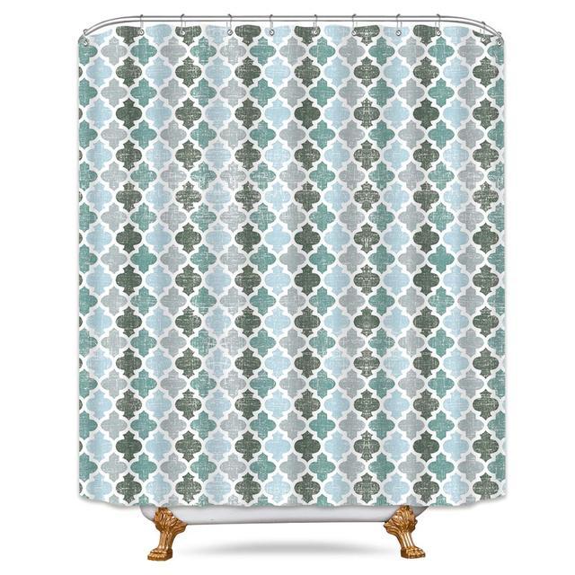 Riyidecor Geometric Quatrefoil Shower Curtain Teal And Grey Morocco Turquoise Aqua Vintage Retro Set Waterproof