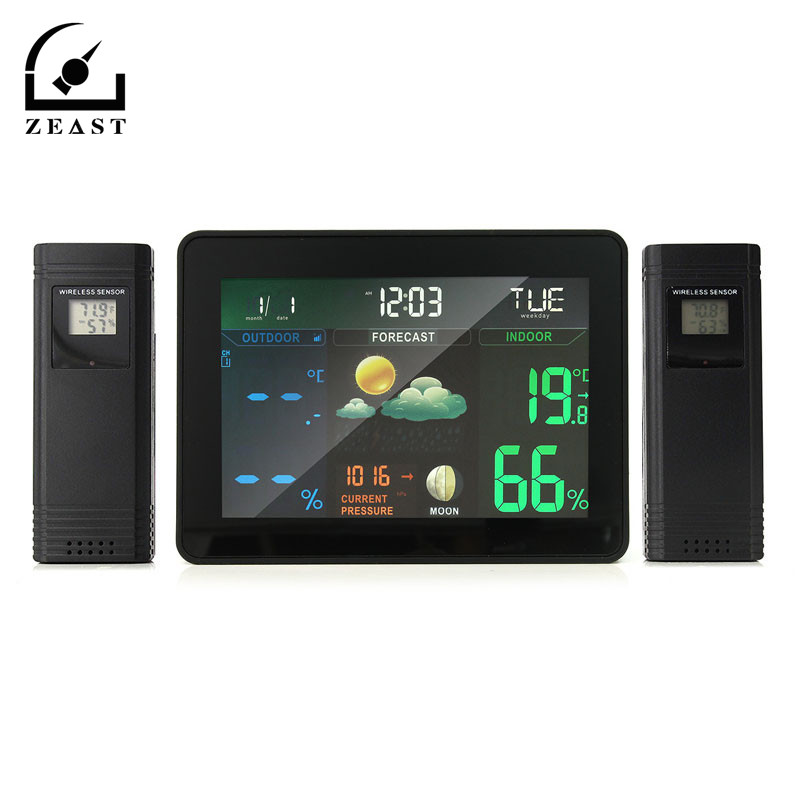 Wireless Colorful Weather Station Forecast Indoor/Outdoor Digital LCD Thermometer Hygrometer Electronic Tester weather station digital lcd temperature humidity meter