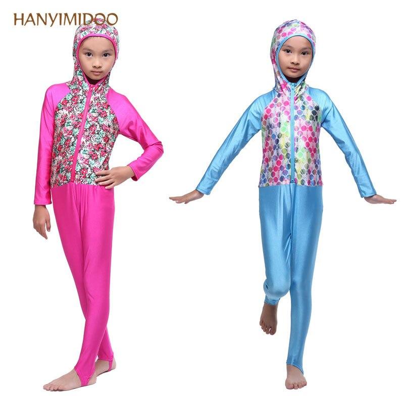 Hight Quality Muslim Kid Girls Swimwear Islamic Arab Modest Bathing suit Hijab Swimsuit Full Cover Beach Wear A $