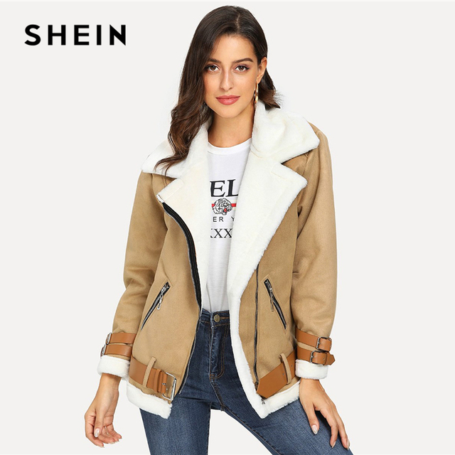 82635c63ea SHEIN Camel Belted Zipper Pocket Faux Shearling 2018 Winter Jacket Women  Casual Notched Biker Coat Fashion