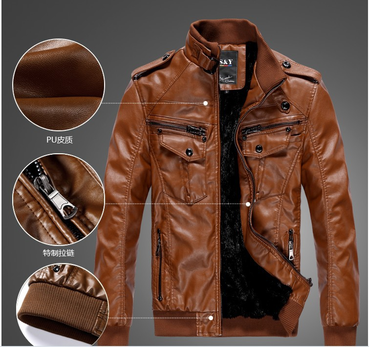 Men's Locomotive Leather Jacket Coat Thickening Fur Outerwear Slim ...