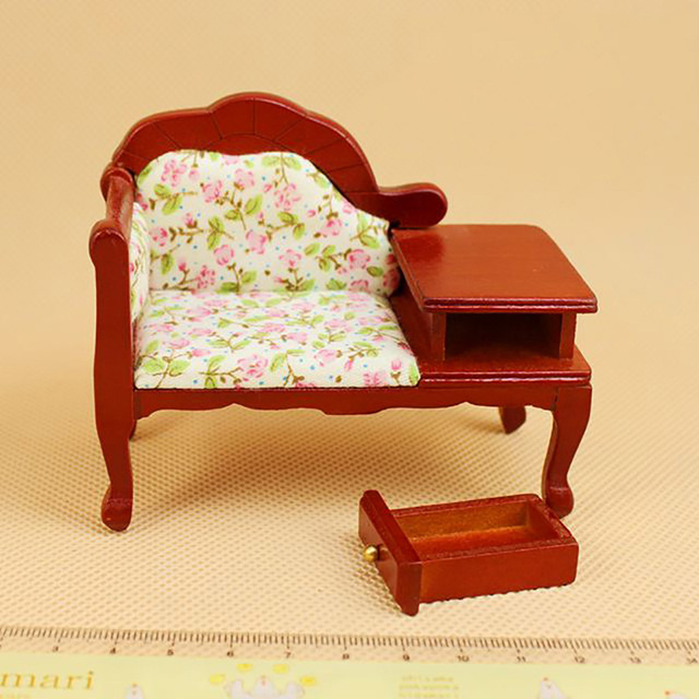 US $9.99 49% OFF|1:12 Miniature Dollhouse Furniture Kit Handmade DIY High  backed Sofa Doll House Vintage Pastoral Drawer Chair Dollhouses Toys-in  Doll ...