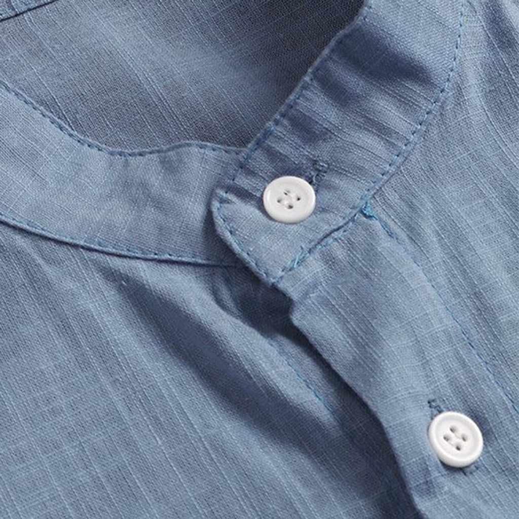 のメンズシャツカミーサ夏長袖男性ブラウス Top 新スタイル快適な純粋な綿とリネンシャツ男性カミーサ masculina