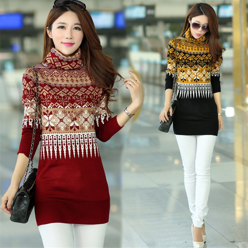 7ea3782d50c S 3XL Autumn Winter New Fashion Turtleneck Women Sweaters Korean Style  Geometric Pullovers Clothes Long Sleeve Sweater 62925-in Pullovers from  Women s ...
