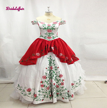 White Red Embroidery Quinceanera Dresses 2017 Ball Gown Off Shoulder Ruffles Organza Appliques Sweet 16 Dress Vestido De 15 Anos