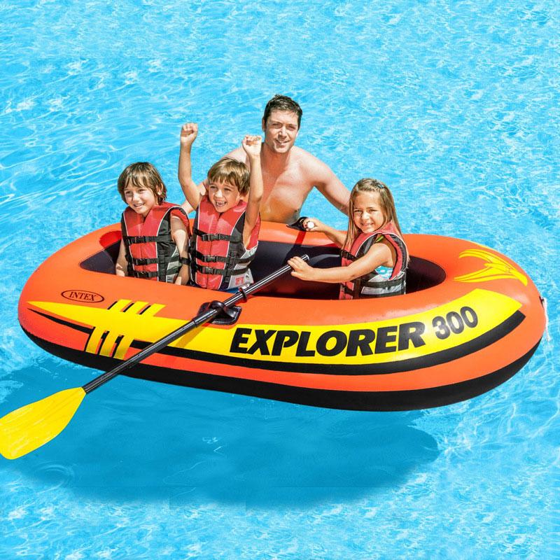 Bateau de pêche gonflable INTEX 58332 1-3 personnes utilisent un bateau à rames en caoutchouc épaississant le bateau d'amusement de l'eau avec des rames et des pompes
