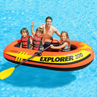INTEX 58332 Inflatable Fishing Boat 1 3 Person Use Rubber Rowing Boat Thickening Water Amusement Boat With Oars And Pumps
