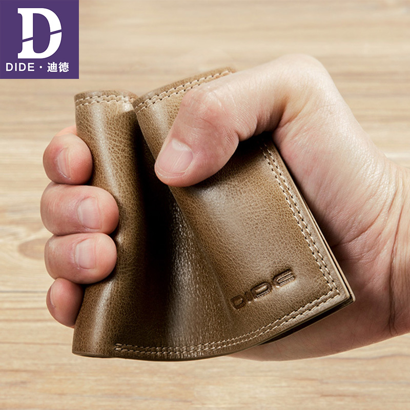 DIDE Business Casual Wallet Men Top Layer Genuine leather Purses Male Short Wallets Brand Slim Small Wallet ID Card Holder