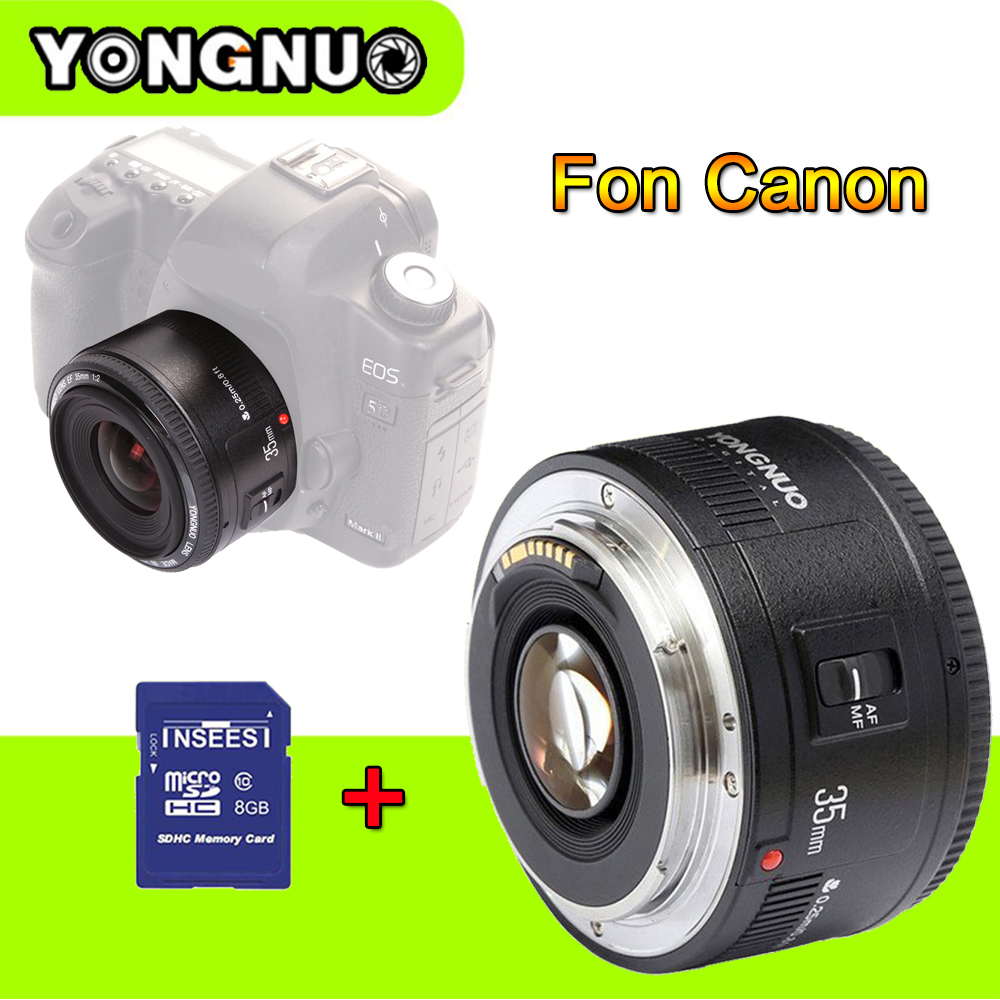 Yongnuo 35mm lens YN35mm F/2 Lens Wide-angle Large Aperture Fixed Auto Focus Lens For Canon Eos 450D 60D 7D +8GB Camera S&D Car стоимость