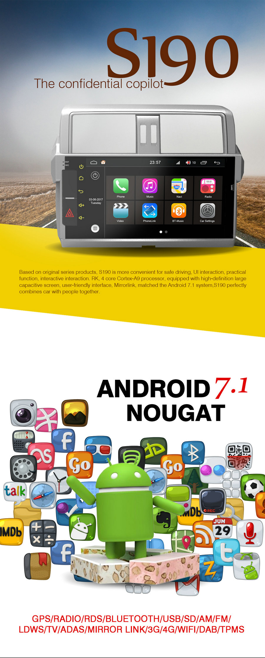 S190 Android 7.1 car dvd gps For OPEL MERIVA/VIVARO (2006-2010) Car Audio player navigation head unit device BT WIFI 3G