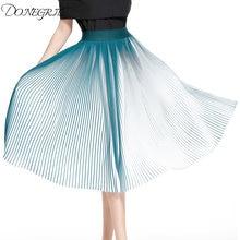 524e041ca3dd Casual Pleated Skirts Womens Summer 2018 New Fashion Chiffon Long Skirt  Black And White Striped Elastic