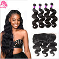 Indian Lace Frontal Closure Indian Body Wave With Closure 3 Bundles,7A Indian Virgin Hair Body Wave Indian Human Hair Extensions