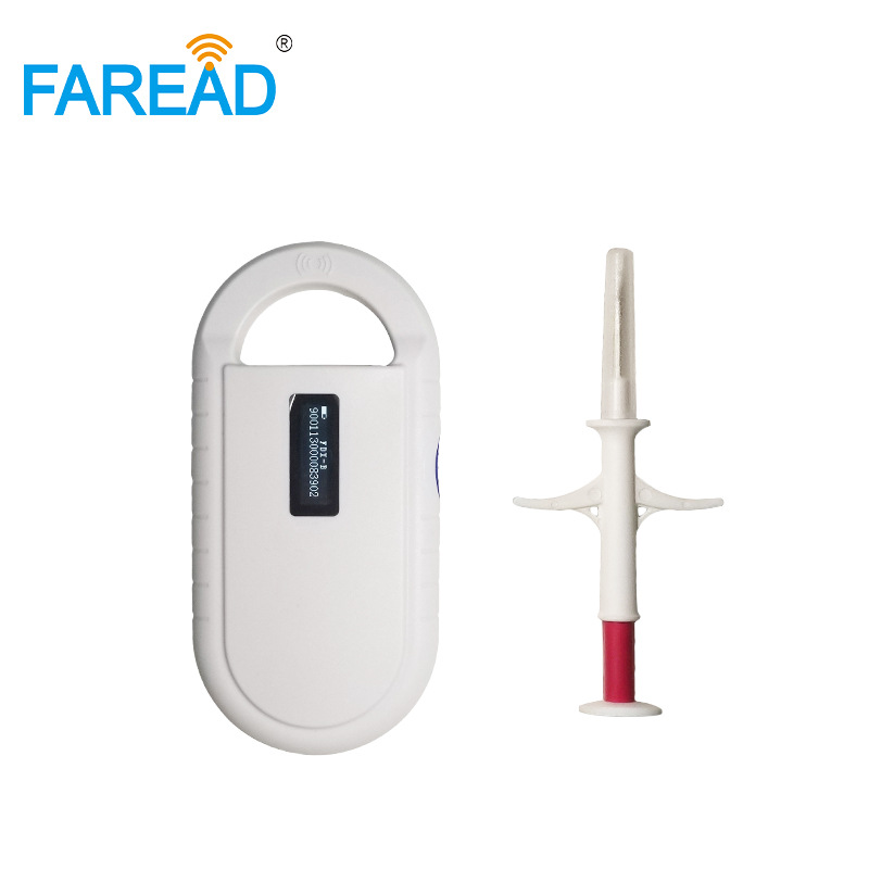 X1pc 134.2KHz Mini Animal RFID Reader + X100pcs 1.4*8mm  FDX-B Disposable Syringe With Needle Animal ID Microchip In Injector