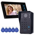 "7"" Color Video Door Phone Video Intercom Monitor Intercom Doorbell Camera RFID Access Control System & 5 ID Card F4361A"