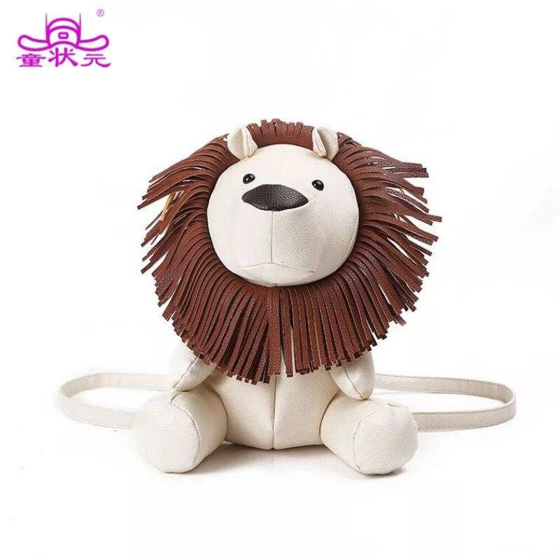 TZY 2017 la nouvelle mode créative Catton Animal Style sac en cuir synthétique polyuréthane Lion en forme de sac à dos épaule sac d'école Spoof cadeau fête