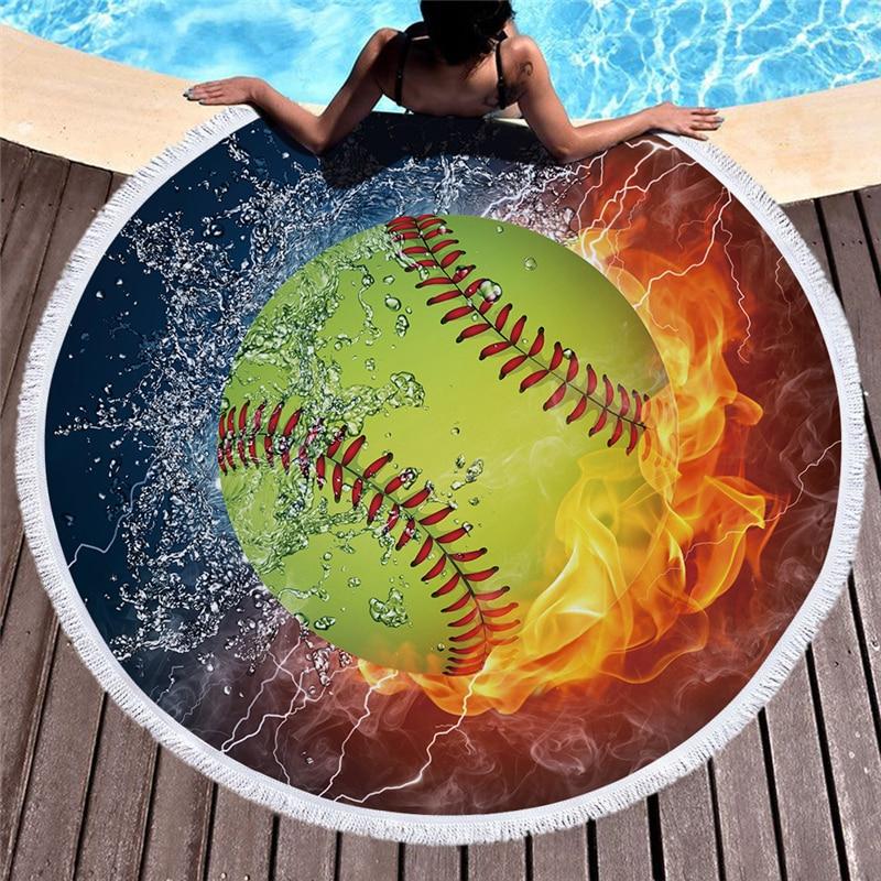 Baseball Football Print Round Beach Towel Microfiber Tassel Large Bath Towel Yoga Mat Carpet Soft Towel Rug Tapestry Home Decor