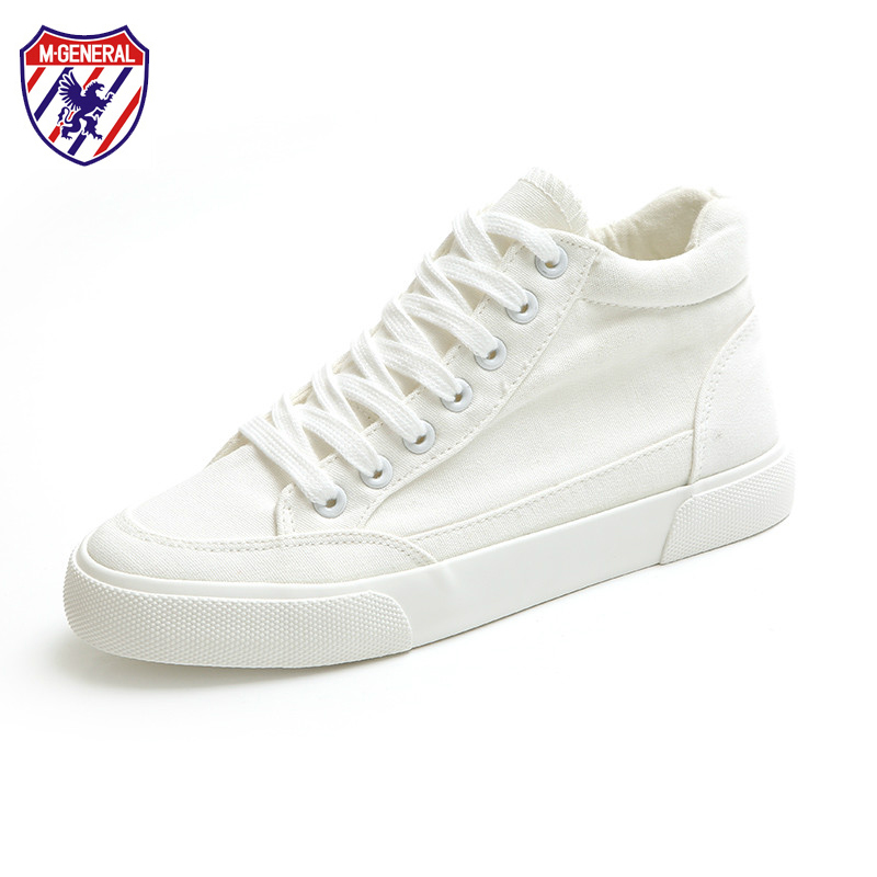 M.GENERAL 2017 New High Canvas Shoes for Women White Shoes All Match Casual Shoes Spring Autumn Preppy Style Black Shoes 35-40 free shipping spring autumn women s flatform casual all match board shoes height increasing shoes