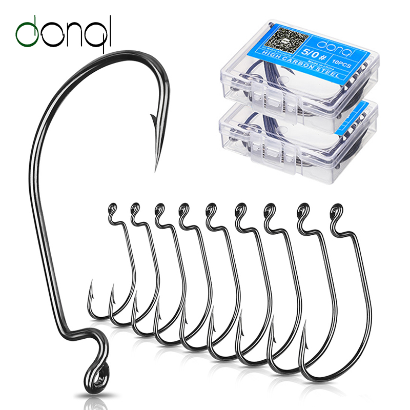 DONQL 10pcs/ Set Fishing Hook Carbon Steel Wide Crank Offset Fishhook For Soft Worm Lure 5/0#-1# Bass Barbed Carp Fishing Hooks(China)