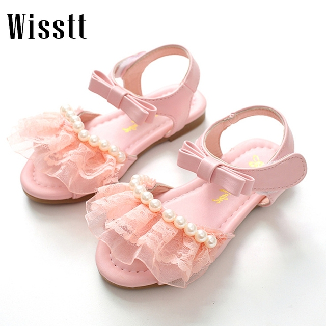 e823a8dec5a2 New Fashion Kids Children Girls Pearl Sandals Shoes Summer Fashion Bowknot  Girls Flat Princess Shoes